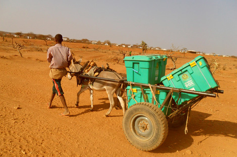 ShelterBoxes being transported to hard-to-reach families in need in Ethiopia, August 2011.