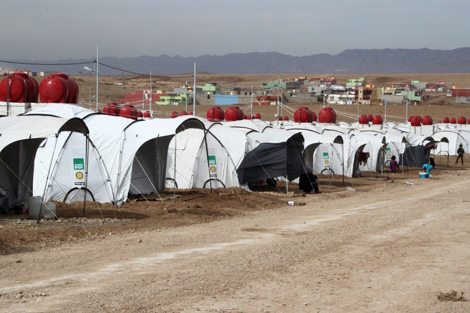 Winterised ShelterBox tents set up at Domiz refugee camp, Duhok, Iraqi Kurdistan, October 2012.