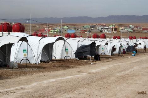 Winterised ShelterBox tents set up at Domiz refugee camp, Duhok, Iraqi Kurdistan, October 2012.