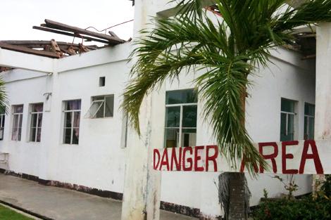 Damaged hospital in Casiguran, Aurora Province, Philippines, August 2013.