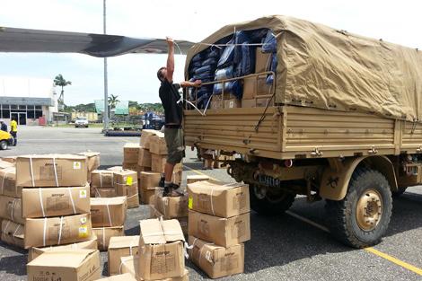 ShelterBox aid arriving on the island of Santa Cruz, Solomon Islands, February 2013.