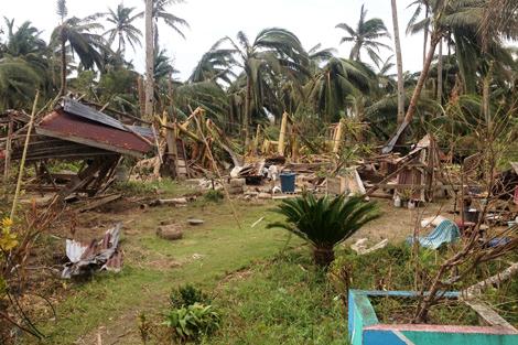 Destruction left behind by Typhoon Utor in Casiguran, Luzon island, Philippines, August 2013.