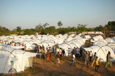 ShelterBox tents set up to house flood survivors in Nigeria, December 2012.