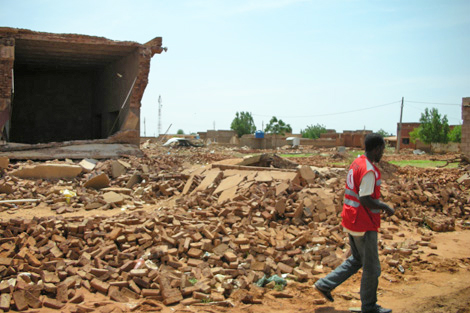 Rubble left behind after heavy rains and flash floods hit Khartoum state, Sudan, August 2013.