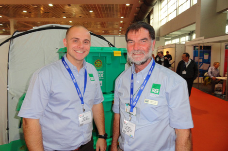 ShelterBox Supply Chain Manager Shane Revill (left) with Response Team member Joe Cannon (UK) at last year's AidEx, 2012.