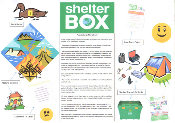 Max's final artwork for his ShelterBox project
