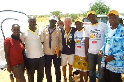 Rotary Club Niger members with SRT member Peter Pearce (AU) in the middle and past and present Rotarian friend Gaston Kaba on the right, October 2013.
