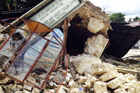 Collapsed infrastructure by the earthquake that hit Bohol, Philippines, October 2013.
