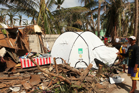 Every ShelterBox tent displays the Rotary Roundel to highlight the global project partnership between both organisations, Philippines, November 2013.