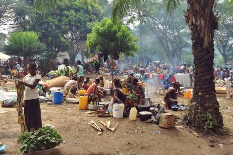 Monastere de Boy-Rabe IDP camp has around 12,000 people living in cramped and squalid conditions, CAR, December 2013.  Photo courtesy of Laura Jepson.