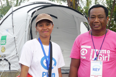 Aid workers from the charity Plan that ShelterBox is working with in Leyte, Philippines to help bring shelter to the most vulnerable families, December 2013.