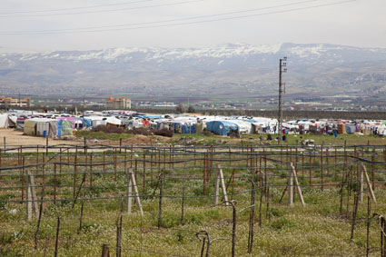 There are Syrian refugees in their makeshift shelters that appear across Lebanon's landscape, some have ShelterBox tents too. Now they are in need of winterised aid to get them through the harsh winter, March 2013