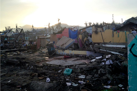 Tacloban still in devastation after Typhoon Haiyan, Leyte, Philippines, January 2014.