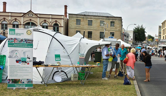 ShelterBox's first display at Hobart's famous Salamanca Markets drew great interest.