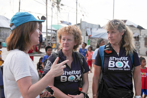 From left to right: Alison Wallace, Response Team volunteers Liz Odell and Sally Fletcher, Philippines, February 2014.