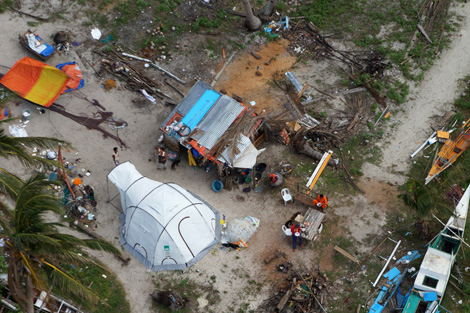 HILANTAGAAN ISLAND, VISAYAS, PHILIPPINES. An aerial view of a ShelterBox tent placed where the family's home once stood. (Courtesy of Joseph Ferris III/YPDR)