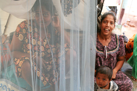 SRI LANKA. 16 JUN 2009. An estimated 150,000 people were displaced as a result of the civil war being fought in Sri Lanka. After initial assessments ShelterBox sent aid to the region, including mosquito nets. (Mike Greenslade/ShelterBox)