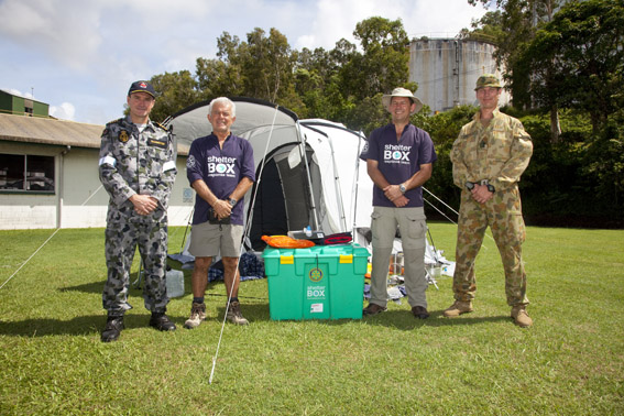 L-R Commander Australian Task Force, Captain Jay Bannister RAN, SRT members, Peter Pearce & Mike Greenslade; Lieutenant Colonel Michael Bassingthwaight 2RAR