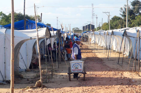 BOLIVIA/TRINIDAD. MAY 2014. Many flood-hit families are temporarily staying in ShelterBox tents across various camps like this one in Trinidad. (Jon Berg/ShelterBox)