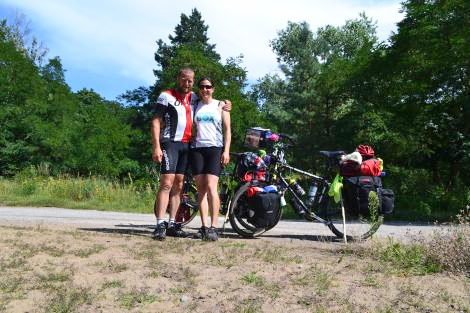 POLAND. 30 AUG 2013. Sharon and Tim Bridgman celebrate their 3,000th mile.