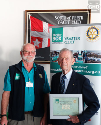 L-R D9455 ShelterBox Rep, David Brockway and PDG Gordon Cargeeg with his award