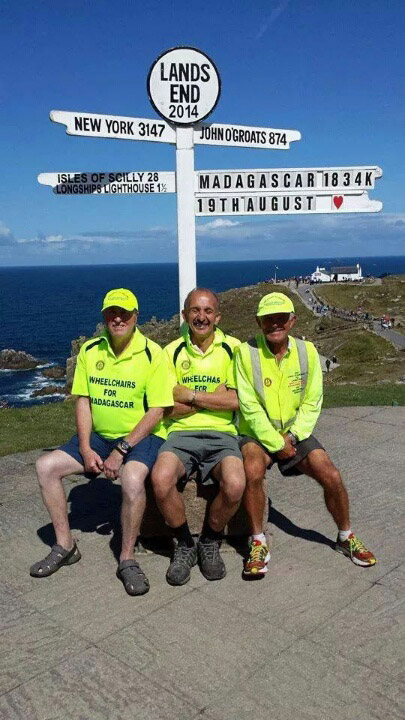 Peter Pearce (left) at the end of his marathon walk from John O'Groats to Lands End in sunny Cornwall