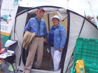 Long-standing ShelterBox Ambassador Gordon Cargeeg with new recruit, Jan Teasdale