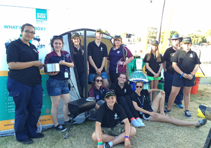Scouts manning the Challenge Zone at the Royal Perth Show helped promote ShelterBox