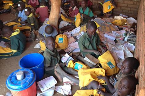 SchoolBoxes arrive at Chingwizi camp. Photo: Liz Odell