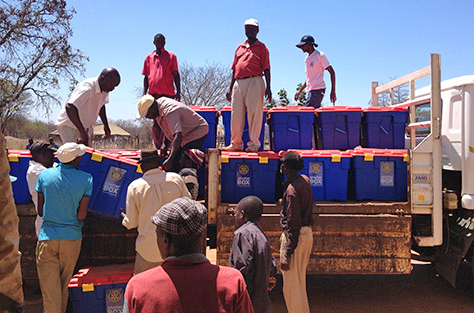 School supplies reach their destination at Chingwizi camp. Photo: Richard Loat