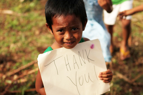 Chip-chip is thankful to be safe and sheltered with his family again thanks to the aid from ShelterBox, November 2013.