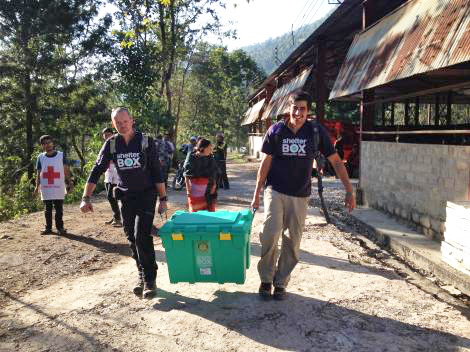 ShelterBox response team members Richard Innes and Richard Loat deliver ShelterBoxes to Sindhupalchowk, near the Chinese border in Nepal