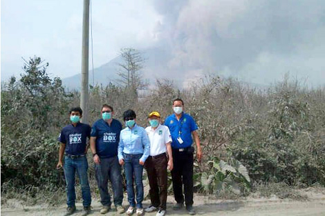 ShelterBox response volunteers and local Rotary club contacts assessing the need of a volcano in Indonesia this February.
