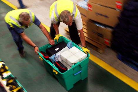 Volunteers began packing ShelterBoxes in our Cornish warehouse where they continue to do so today.