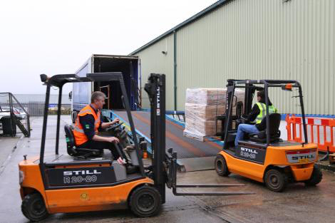 Image of Aid being loaded up at ShelterBox's warehouse in Helston, Cornwall