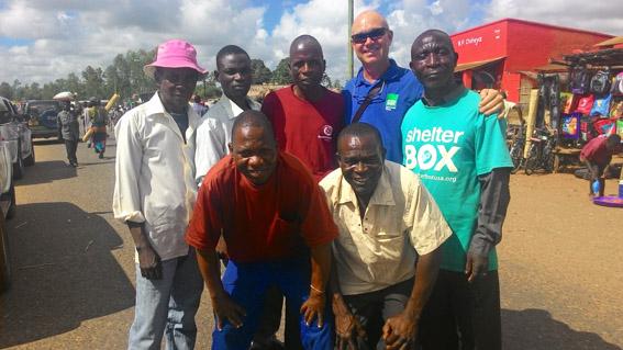 Image of Australian SRT volunteer, Jeff Barnard with local Red Cross volunteers