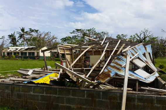 The remains of the local school after Cyclone Pam. (Jimmy Griffiths/ShelterBox)