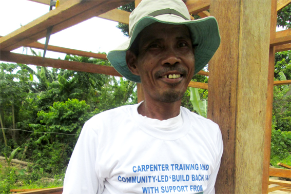 Nilo Visto, who now has a certificate in safe building practices as part of  the project ShelterBox is carrying out with our implementing partner ACTED.  (ACTED/ShelterBox)
