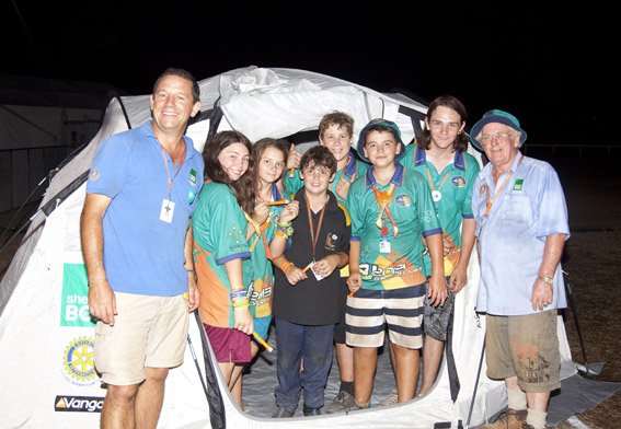 Greville with the winning team in the ShelterBox Tent Challenge, Australian Scout Jamboree 2103