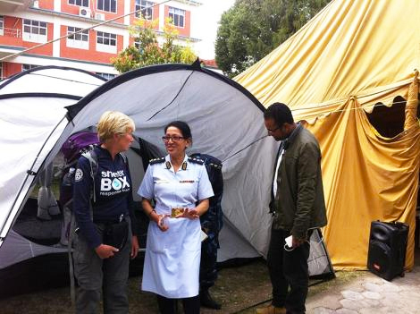 Image of ShelterBox response team member Nicola Hinds with Geeta Shrestha, Nursing Director at one of the Kathmandu hopsitals that have received ShelterBox tents. (Phil Duloy/ShelterBox)