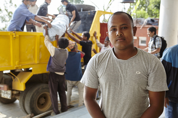 Rom Singh Basnyal, a local volunteer who has been helping distribute ShelterBox aid.