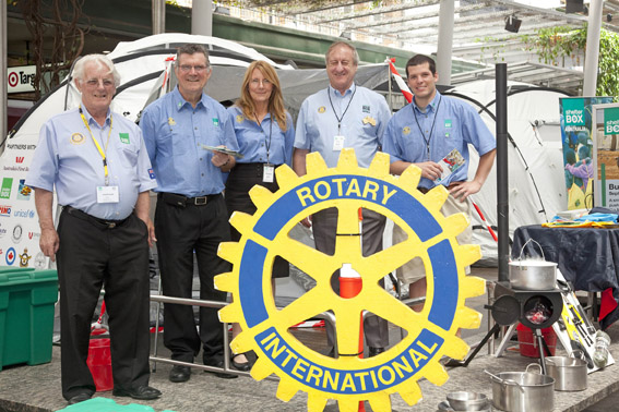 Greville (L) with Rotary colleagues at the ShelterBox Expo in Queen St, Brisbane. 2011
