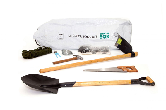 image of shovel, hoe, saw, hammer, tin snips, wire, bags of nails, rope and bag