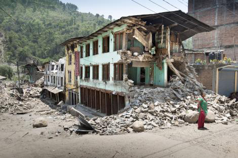 Image of badly damaged buildings in Phataksila, Nepal.