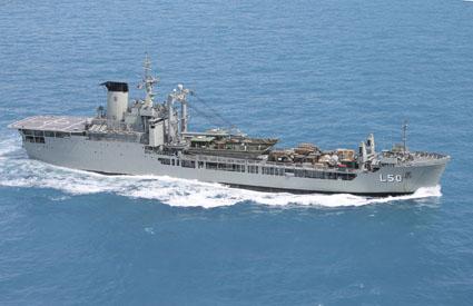 Aerial image of HMAS Tobruk at sea
