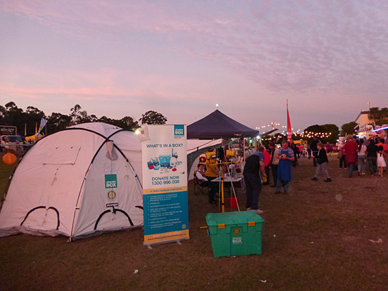 ShelterBox had a prime position just inside the entrance to the festival .... and opposite the ATM!
