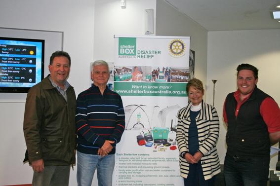 L-R Graham Day of Radio 2ST; Richard Krohn, Shelterbox Ambassador, Rotary Club of Berrima District; Jan Edwards, CEO BDCU-Alliance Bank; Tom Farquhar, Radio 2ST.