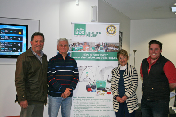 L-R Graham Day of Radio 2ST; Richard Krohn,  Shelterbox Ambassador, Rotary Club of Berrima District; Jan Edwards, CEO BDCU-Alliance Bank; Tom Farquhar, Radio 2ST.