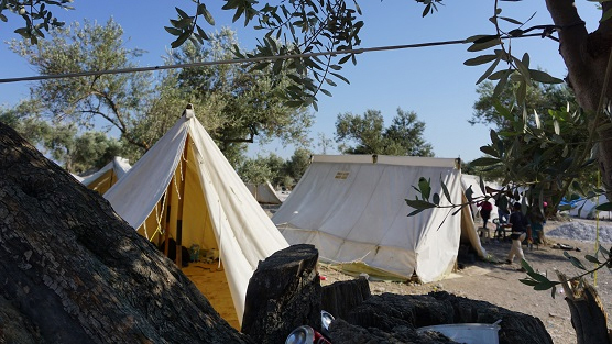 The Kara Tepe camp on Lesbos. (Rachel Harvey/ShelterBox)