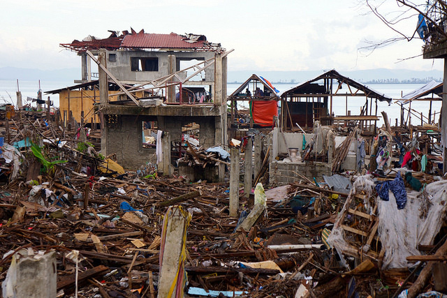 Buildings devastated by Typhoon haiyan